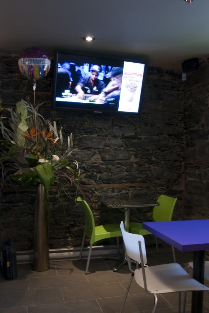 Digital TV in Vua's main dining area