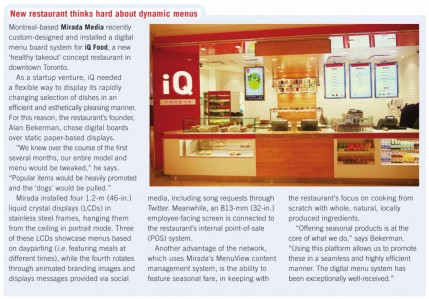 iQ Food article in SignMedia Canada