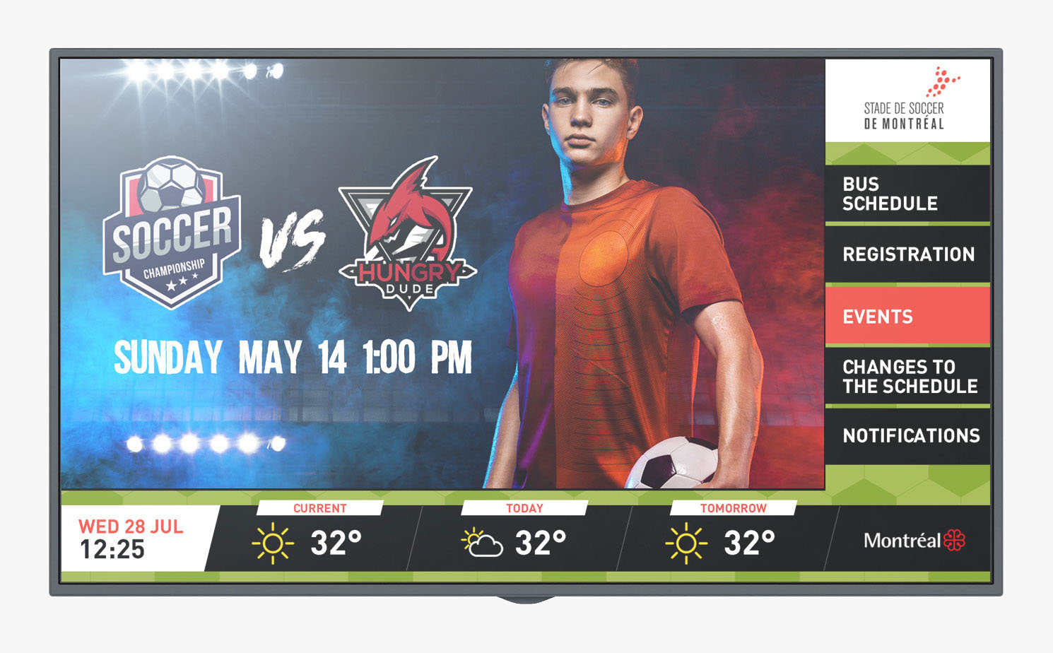 Stade de soccer digital signage screen