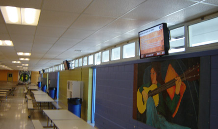 Digital signage in a cafeteria