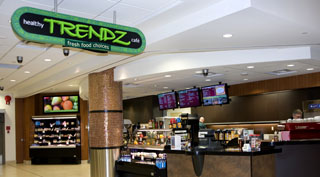 Digital menu board at Trendz